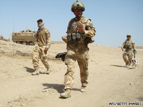 British soldiers patrol in Baba Ji district of Helmand province last month after retaking it from the Taliban.