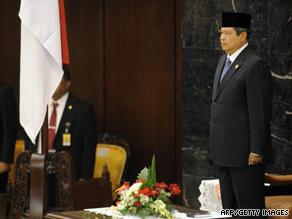 President Susilo Bambang Yudhoyono at the House of Representatives on Monday