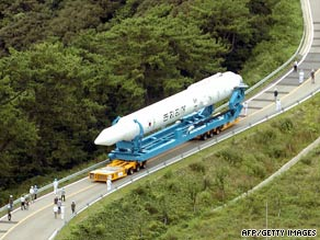 The Korea Space Launch Vehicle-1 is wheeled to its launch pad at Naro Space Center on August 23.