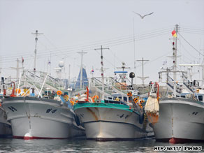 South Korean fishing boats anchored at Geojin port, Goseong, South Korea, August 1.