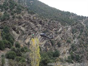 CNN obtained this photo of a U.S. helicopter above Forward Operating Base Keating in the Nuristan province
