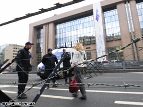 Guards at a Brussels roadblock last December, at the start of a European Council summit.