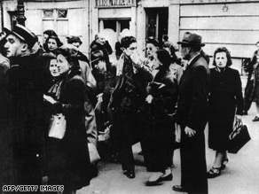 Jews and foreigners are rounded up in Paris in May 1941.