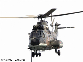 A Super Puma helicopter, similar to the one in this file photo, went down about 120 miles east of Aberdeen.