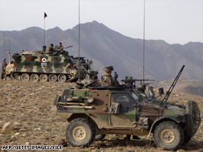 French troops on patrol with the Afghan army as part of the NATO mission in Afghanistan.