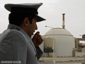 A security guard stands by the nuclear reactor at Iran's Bushehr power plant.