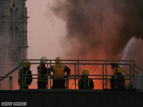The fire started on a construction site at a building in the city's historic heart.