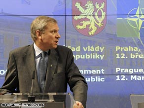 Prime Minister Topolanek at a NATO event in the Czech capital this month.