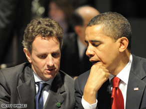 Treasury Secretary Timothy Geithner (left) sits with President Barack Obama Thursday at the G20 summit.