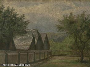 Part of Hitler's oil painting 'Rural Houses and Trees.'
