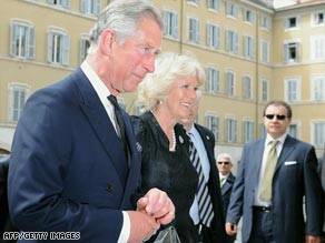 Prince Charles and Camilla arrive Monday at the Italian Parliament for a conference on the environment.