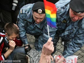 Gay and lesbian rights activists are detained in Moscow Saturday ahead of a planned march.