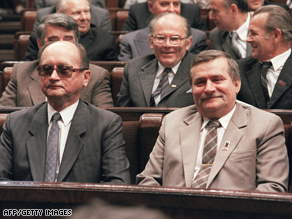Jaruzelski, left, and Walesa attend the first multi-party session of the Polish parliament following elections in 1989.