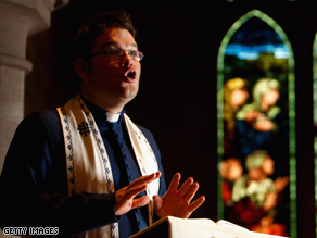 Scott Rennie rehearses a sermon at Brechin Cathedral in northeast Scotland.