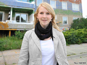 Sarah Stotzner, hopes to return to her home town after going abroad -- but jobs in the former East Germany are hard to find.