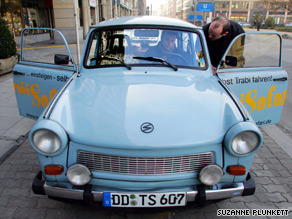 The old-style Trabi is a common sight in Germany where tourist operators use the car for local tours.