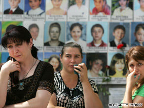 Mourners visit the Beslan school gymnasium on the fifth anniversary of the massacre.