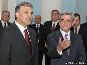 Turkish President Abdullah Gul, left, meets Armenian counterpart Serzh Sarkisian in Yerevan in September 2008.