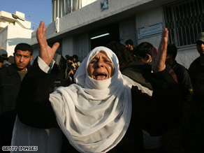 A relative of a Palestinian victim cries out outside a hospital in Gaza City on Monday.