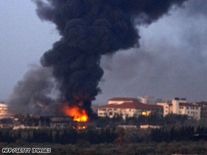 Smoke billows from Gaza on Thursday as fighting continued to rage.