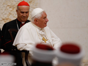 Pope Benedict XVI visits the King Hussein Bin Talal mosque Saturday in Amman, Jordan.