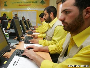 Hezbollah party workers in the southern town of Nabatiyah hoping for an election victory.