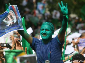 Supporters of Mir Hossein Moussavi at a rally Wednesday.