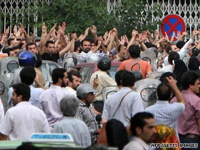 Iranians protest against the reelection of Ahmadinejad outside the interior ministry in Tehran.