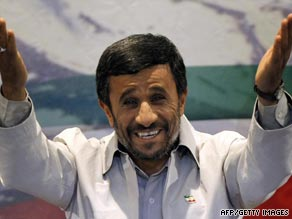 Mahmoud Ahmadinejad pictured at a rally held in Tehran Sunday to celebrate his re-election as Iranian president.