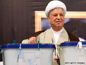 Iran's former President Ali Akbar Hashemi Rafsanjani votes in the presidential election on June 12.