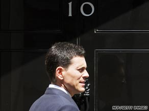 British Foreign Secretary David Miliband outside 10 Downing Street in London.