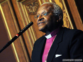 The laureates, including Desmond Tutu, said the detention of lawyer Shirin Ebadi is illegal.