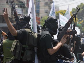 Palestinian militants from the al-Ahrar Brigades march during a rally in Gaza City in July.