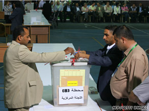 Fatah officials count ballots after a vote for the party leadership in Bethlehem on Monday.