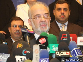 Former Iraqi Prime Minister Ibrahim al-Jaafari announces the new Iraqi National Alliance in Baghdad.