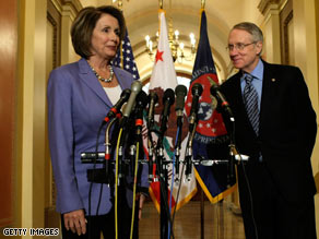 House Speaker Nancy Pelosi spoke with reporters Wednesday as Senate Majority Leader Harry Reid looked on.