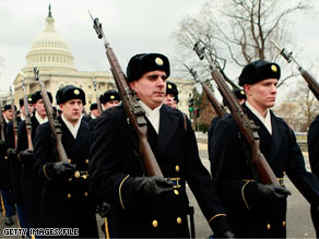 Members of the military participated in a recent rehearsal for Tuesday's inauguration.