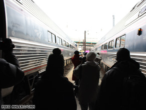 Passengers detrained from the Obama Express after it arrived in Baltimore for its last stop before proceeding to Washington Saturday evening.