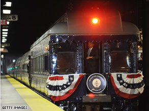 President-elect Obama looked out the back of the train as it left Philadelphia Saturday morning.