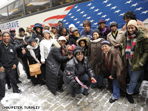 A group of African-Americans ride a bus from Brooklyn, New York to Washington DC on Sunday, Jan.18,to attend the inauguration.