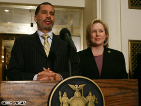 Senator-designate Rep. Kirsten Gillibrand appears with New York Gov. David Paterson at a press conference Sunday in New York.