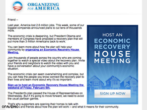 OFA is urging supporters to host stimulus-related house parties next weekend.