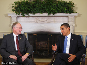 President Obama met with Gov. Douglas Monday to talk about the American recovery and reinvestment plan.