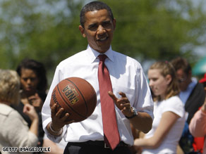 The President predicted that Duke's archrival, North Carolina, will win the NCAA tournament.