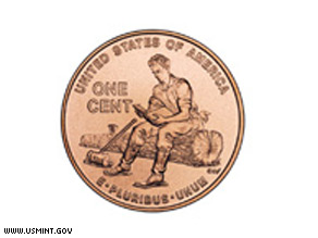 The penny pictured above features a young Lincoln educating himself while working as a rail splitter in Indiana.