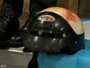 A blood-stained helmet of a police officer killed in Juarez, Mexico.