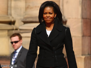 First Lady Michelle Obama arrives at Rohan Palace on April 4 in Strasbourg, France.