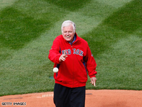 The ailing Massachusetts senator threw the ceremonial pitch before the Red Sox took on the Tampa Bay Rays at the Boston team's home opener.