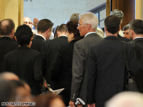 European Union delegates leave during Iranian President Mahmoud Ahmadinejad's speech Monday.