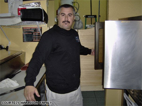 George Norman Harrison in his pizzeria. Harrison was kidnapped and murdered in Mexico.